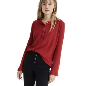 Madewell Garment-Dyed Thermal Henley Tee XS Red Waffle Knit Long Sleeve Top